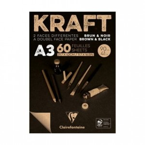 Blok rysunkowy KRAFT Black&Brown Clairefontaine - 90g, A3, 60ark.
