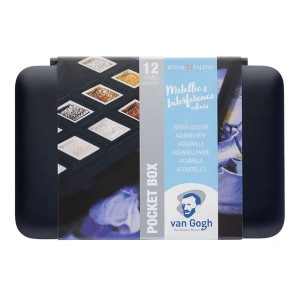 Talens Van Gogh farby akwarelowe Pocket Box 12 kostek - metallic & interference colour