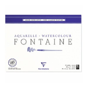 Blok do akwareli FONTAINE Clairefontaine - Demi Satine - 300g, 25ark, 18x24cm