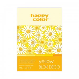 Blok do scrapbookingu Happy Color DECO - 170g, 20ark, A4 - żółty