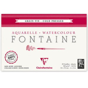 Blok do akwareli FONTAINE Clairefontaine - Grain Fin - 300g, 25ark, 18x24cm