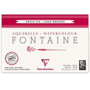 Blok do akwareli FONTAINE Clairefontaine - Grain Fin - 300g, 25ark, 10x15cm