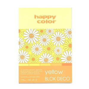 Blok do scrapbookingu Happy Color DECO - 170g, 20ark, A5 - żółty