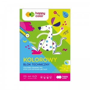 Blok techniczny Happy Color Friends - 170g, 10ark. A4 - kolorowy