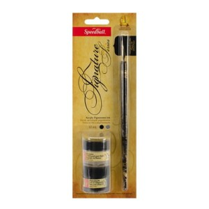Zestaw do kaligrafii Speedball Signature Black Ink & Pen Cleaner
