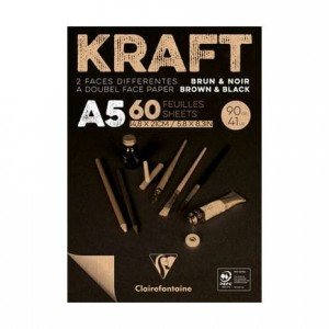 Blok rysunkowy KRAFT Black&Brown Clairefontaine - 90g, A5, 60ark.