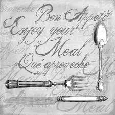 Serwetki do decoupage 33x33cm ENJOY YOUR MEAL GREY
