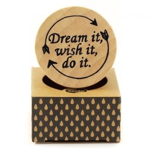 Stempel drewniany Maildor 4,5 cm okrągły DREAM IT, WISH IT, DO IT