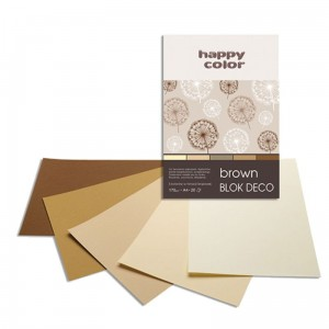 Blok do scrapbookingu Happy Color DECO 170G, 20ARK A4 - brązowy