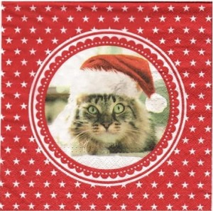 Serwetki do decoupage 33x33cm CHRISTMAS CAT
