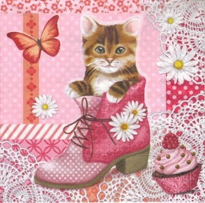 Serwetki do decoupage 33x33cm CAT IN SHOE