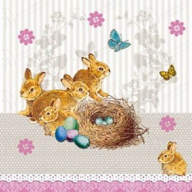 Serwetki do decoupage 33x33cm BUNNIES NEST TAUPE