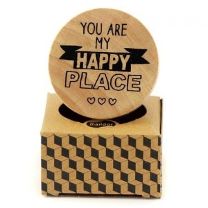 Stempel drewniany Maildor 4,5 cm okrągły YOU ARE MY HAPPY PLACE